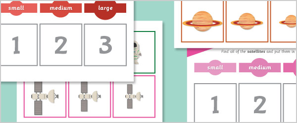 Space Size Sorting Activity