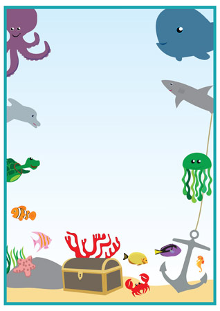 Under The Sea Editable Notepaper