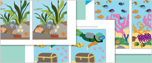 Under the Sea Spot the Difference Sheets