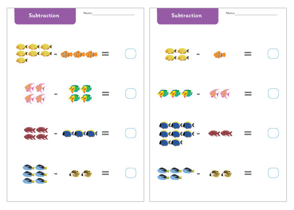 Under the Sea Subtraction Worksheets