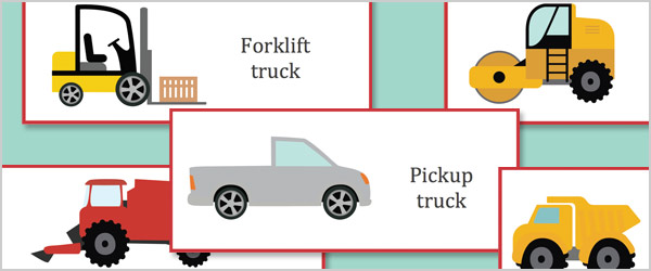 Work Vehicles Topic Cards