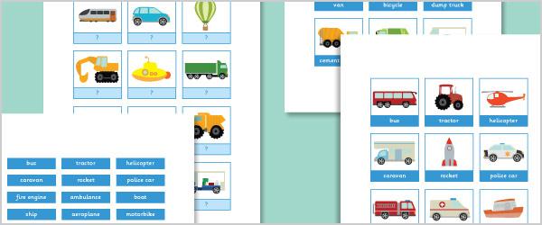Vehicle Vocabulary Activity