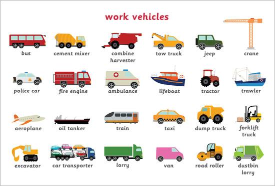 Work Vehicles Word Mat