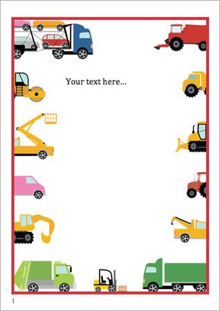 Work Vehicles Editable Notepaper