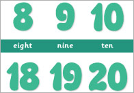 Number Track 0-20 Desktop Strips (Numbers and Words)