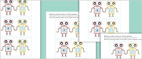 Robot Number Bonds to 10 Worksheets