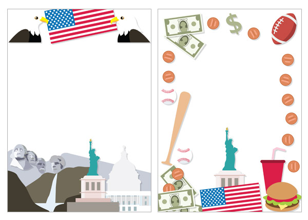 Editable USA Page Borders / Notepaper
