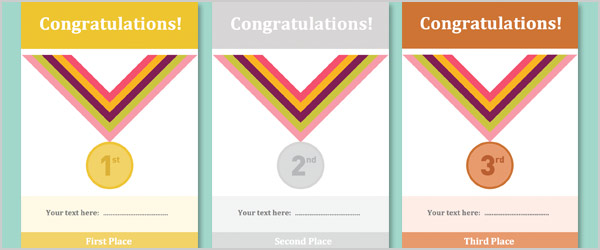 Gold, Silver & Bronze Editable Certificates