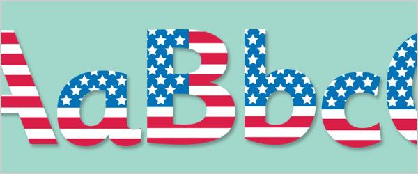 USA Flag Display Letters
