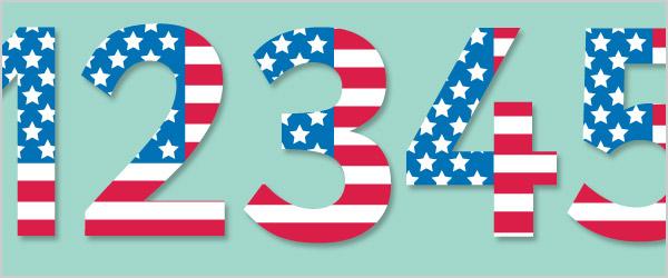 USA Flag Display Numbers