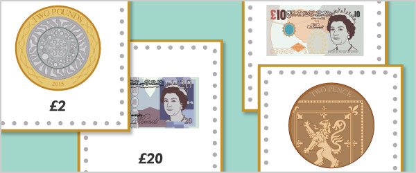 British Currency 15cm Cards