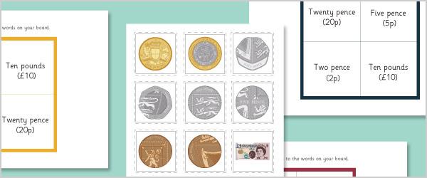 British Currency Bingo