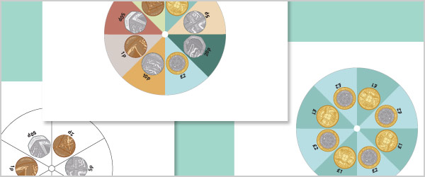 Illustrated Coin Spinner Templates (UK)
