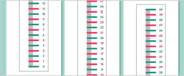 0-40 Vertical Number Line