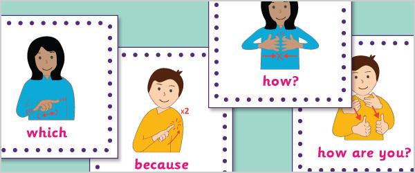 British Sign Language Topic Cards (15cm x 15cm)