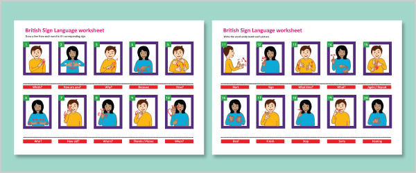 British Sign Language Multiple Choice Worksheet