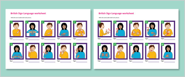 British Sign Language Basic Signs Worksheet