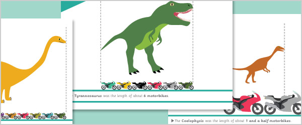 Dinosaur Mathematical Length Cards