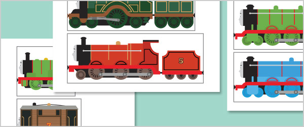 Trains Size Sorting Cut Outs
