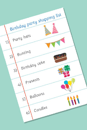 Birthday Party Role-Play Shopping List