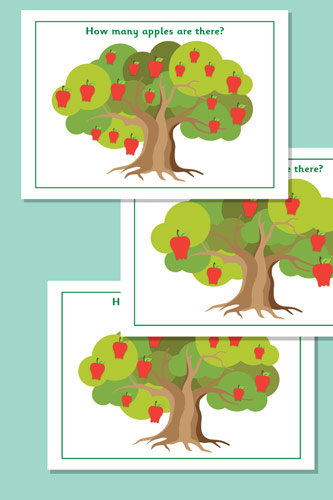 Counting / Estimating Apples Flash Cards