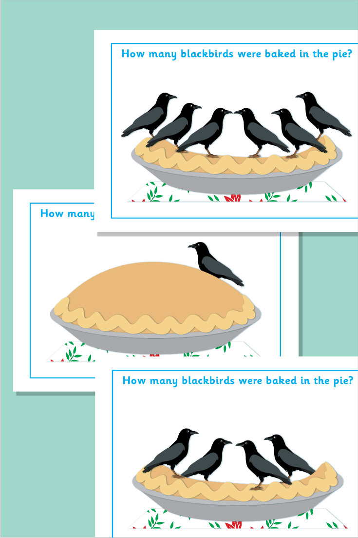 'Blackbirds Baked in a Pie' Counting Flash Cards