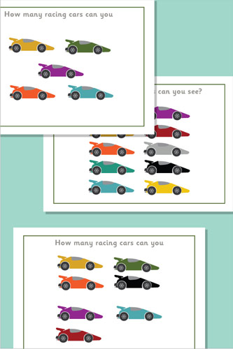 Racing Car Themed Counting / Estimating Posters