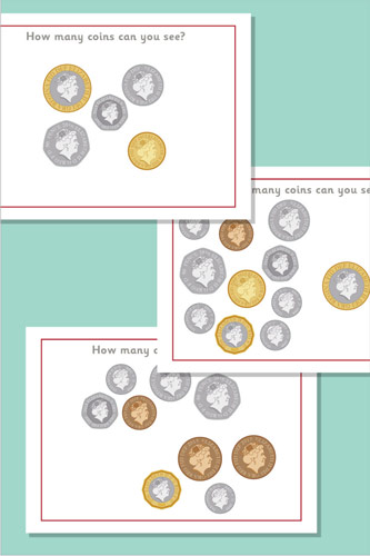 Counting / Estimating Flash Cards - Coins
