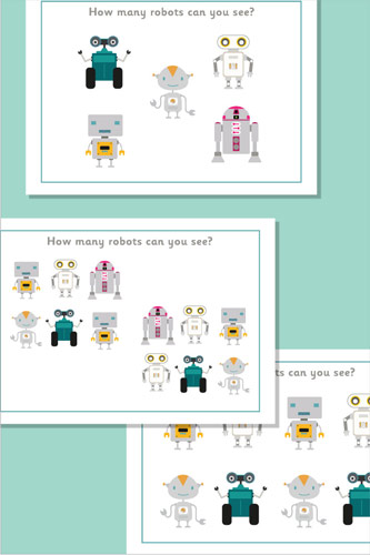 Counting / Estimating Flash Cards - Robots