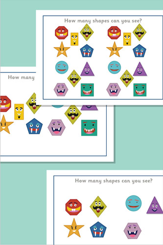 2D Shapes Counting / Estimation Cards
