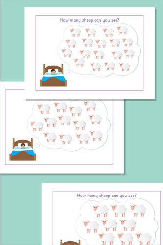 Estimating / Counting Sheep Flash Cards