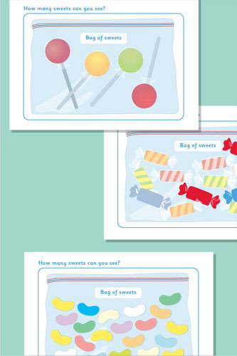 Counting / Estimating Sweets Flash Cards