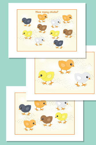 Estimating / Counting Chicks Flash Cards