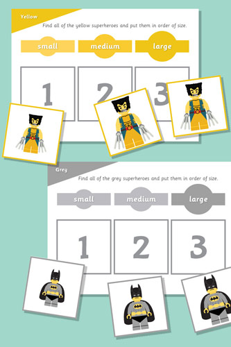 Superhero Size Sorting Game