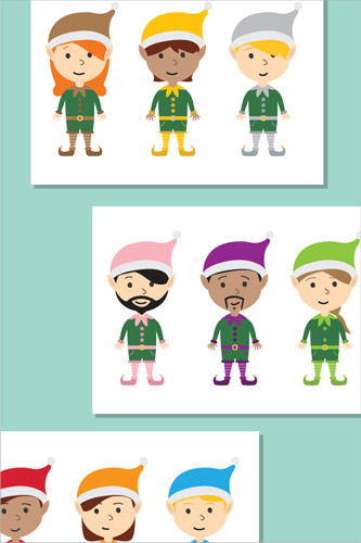 Christmas Elves Stick Puppets