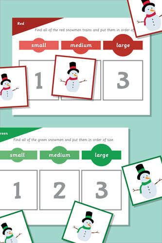 Snowman Size Sorting Game