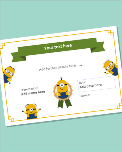 Editable Minion Themed Certificate