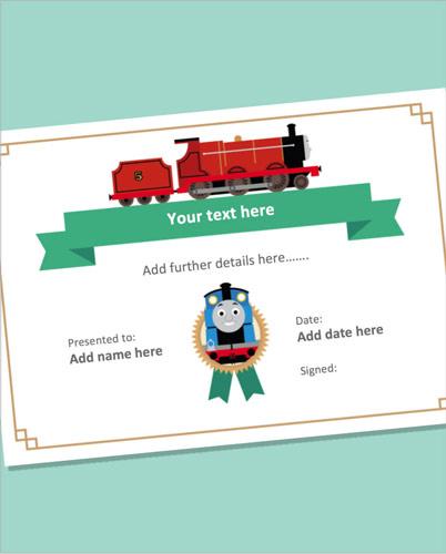 Editable Train Themed Certificate