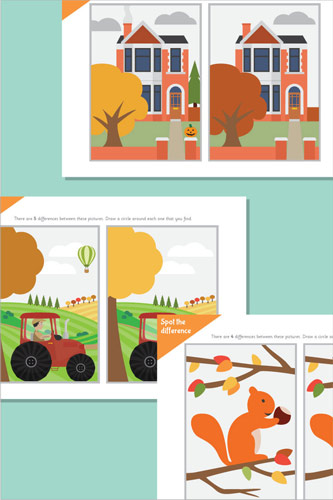 Autumn Spot The Difference Sheets