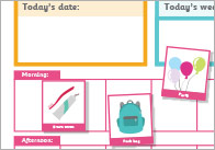 Daily Visual Timetable For Home Poster & Weather Report (Editable)